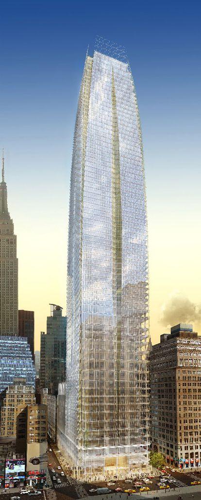Recreación del nuevo rascacielos en la que se ve cómo entorpece la vista del Empire State (a la izquierda). Abajo,