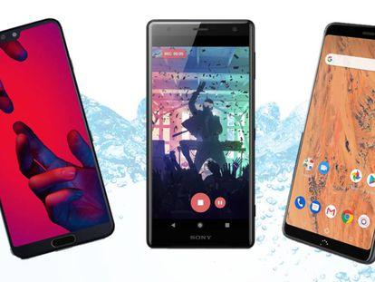 De izquierda a derecha: Huawei P20 Pro, Sony Xperia XZ2 y BQ Aquaris X2.