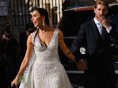 Sergio Ramos y Pilar Rubio, el 15 de junio tras contraer matrimonio en Sevilla.