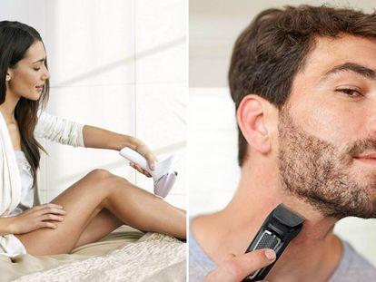 El Amazon Prime Day es una buena oportunidad para aprovechar los descuentos que ofrecen diferentes dispositivos de belleza como las depiladoras (a la izquierda de la imagen) o recortadores de barba (a la derecha).