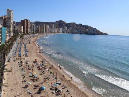 Playa de Benidorm (Alicante), durante el puente de octubre de este año.