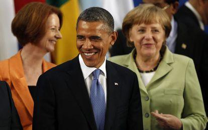 El presidente de Estados Unidos, Barack Obama, la canciller de Alemania, Angela Merkel (a la derecha), y la primera ministra de Australia, Julia Gallard
