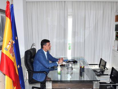 El presidente del Gobierno, Pedro Sánchez, durante la reunión de seguimiento del dispositivo de repatriación del contingente español en Afganistán, este miércoles.