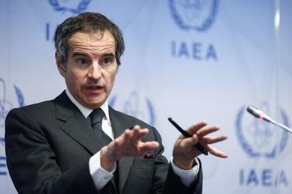El director general del Organismo Internacional de la Energía Atómica, Rafael Mariano Grossi, durante la conferencia de prensa de este lunes.