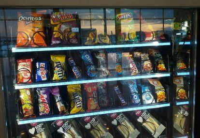 Las máquinas de alimentos suelen presentar productos nada saludables.