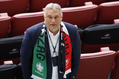 Víktor Orbán este martes durante el partido de la Eurocopa de fútbol entre Hungría y Portugal, en Budapest.