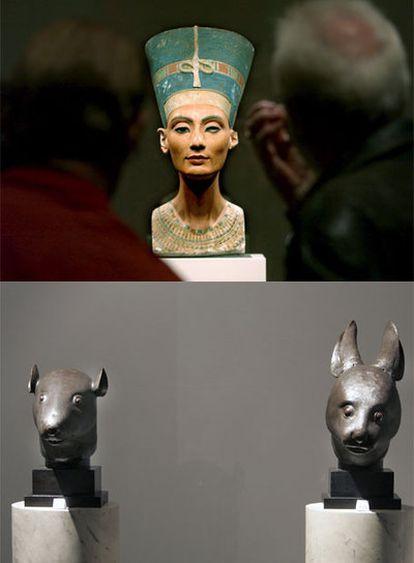 Arriba, el busto de Nefertiti en el Museo Egipcio de Berlín. Abajo, los dos bronces chinos subastados en Christie's.