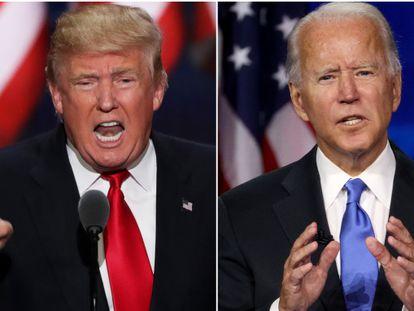 El presidente de Estados Unidos, Donald Trump, y su contrincante en las elecciones presidenciales, Joe Biden.