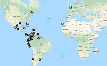 Mapa de mujeres venezolanas asesinadas en el extranjero.