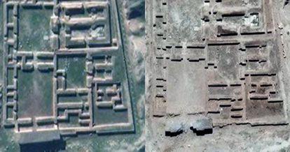 La ciudadela de Nimrud (Irak). En la izquierda, la imagen de satélite tomada el 12 de febrero de 2016. En la derecha, la misma imagen tomada el 3 de junio de 2016.
