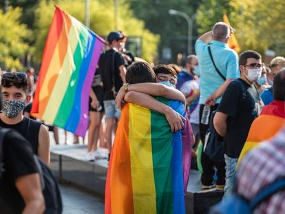 Manifestación el el Día del Orgullo en Barcelona, en junio de 2020.