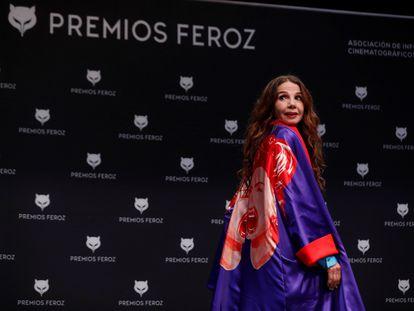 La actriz Victoria Abril durante la rueda de prensa convocada por la concesión del Feroz de Honor 2021.