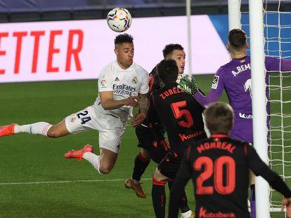Mariano, en un duelo ante la Real Sociedad del pasado campeonato.