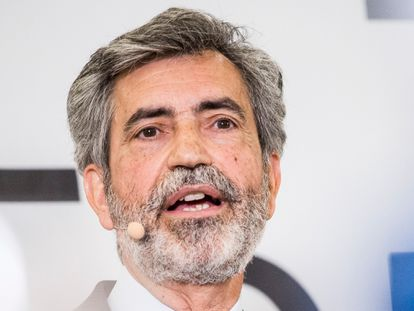 El presidente del Tribunal Supremo y del Consejo General del Poder Judicial, Carlos Lesmes, en un acto celebrado este jueves en Madrid.