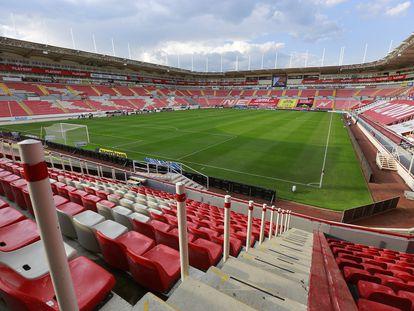 El estadio del Necaxa, en Aguascalientes, vacío durante la sexta jornada del torneo Guardianes 2020 en agosto.