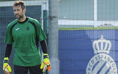 Diego López, durante un entrenamiento en Sant Adrià.