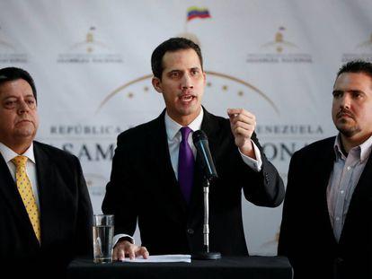 El presidente de la Asamblea Nacional, Juan Guaidó, en la rueda de prensa de este jueves.