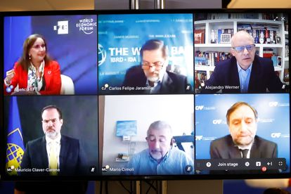 Participantes en un debate este viernes sobre Latinoamérica organizado a través de Zoom por la agencia Efe y el Foro Económico Mundial.