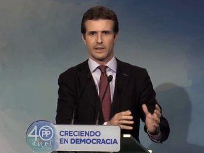 Casado avisa de que Puigdemont puede acabar detenido como Companys
