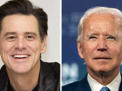 Jim Carrey (a la derecha) y Joe Biden.