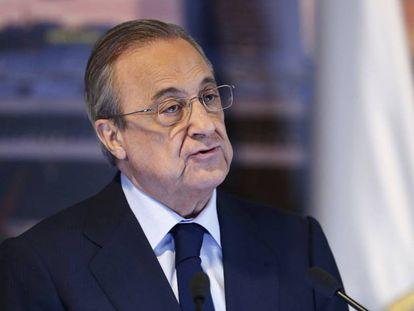 El presidente del Madrid, Florentino Pérez, en la presentación de Mariano.