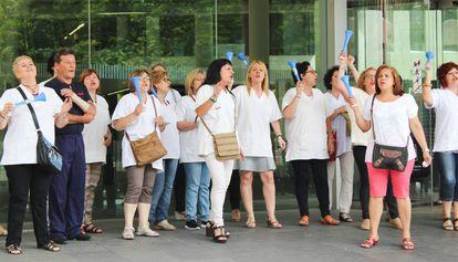 Manifestación de trabajadoras de KLE, en junio del año pasado