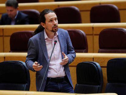 Pablo Iglesias, durante la sesión de control al Ejecutivo el pasado martes en el Senado.