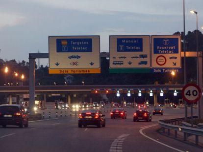 Peaje de la autopista C- 16 de Vallvidrera, en Barcelona.