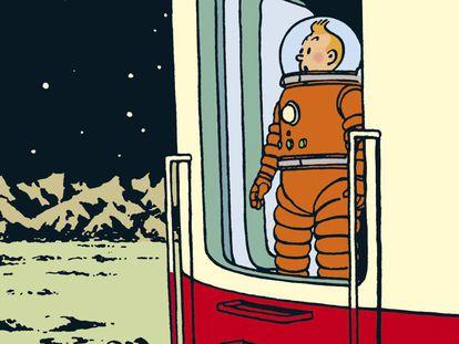 Ilustración de Georges Remi, Hergé, para el álbum Aterrizaje en la Luna, de 1952.