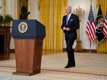 El presidente Joe Biden comparece sobre su agenda económica en la Casa Blanca, este jueves.