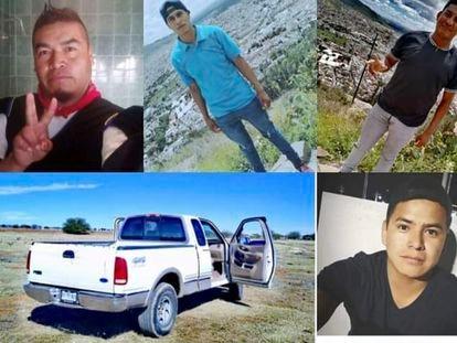 Algunos de los jóvenes wixárikas desaparecidos hace dos semanas en Zacatecas y la camioneta en la que viajaban.