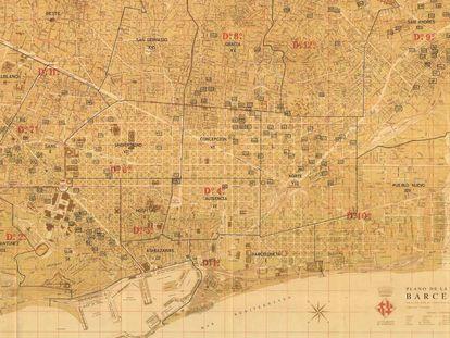 Un plano de Barcelona en 1962, con 153 refugios indicados.
