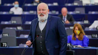 El vicepresidente primero de la Comisión, Frans Timmermans, en el Parlamento Europeo.
