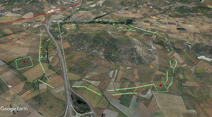 Imagen aérea del cerro de Castarreño, y de las líneas del cerco de los ejércitos de Augusto.
