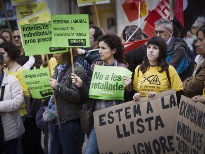 Protesta del profesorado en Barcelona contra los recortes