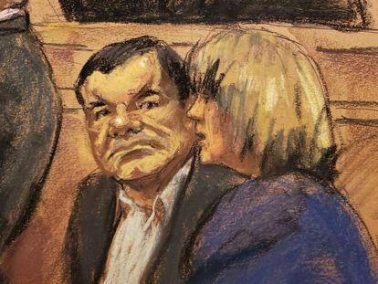 Reproducción de un dibujo de El Chapo realizado por la artista Jane Rosenberg.