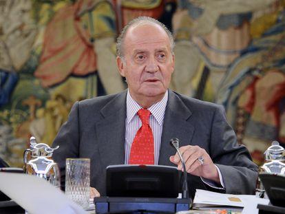El rey emérito, durante un acto en Zarzuela, en 2010.