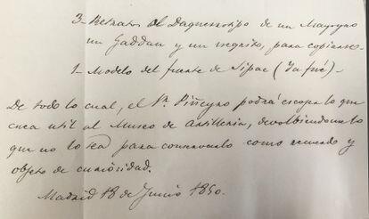 Una de las hojas de la carta que el conde de Manila envió en 1850 al Museo de Artillería, con la referencia a los daguerrotipos.