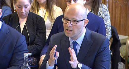 Marco Pancini, Marco Pancini, responsable de Asuntos Públicos de YouTube en Europa, Oriente Medio y África, en una captura de pantalla durante una comparecencia ante el Parlamento británico.