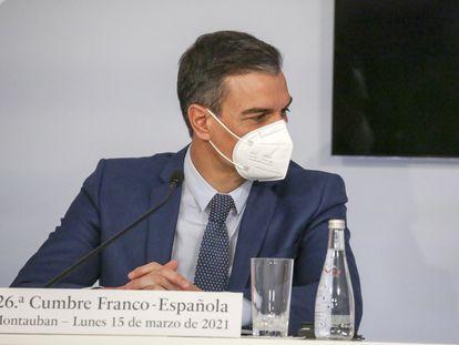 El presidente del Gobierno, Pedro Sánchez, en la Cumbre Franco-Española celebrada en Montauban (Francia) este lunes.