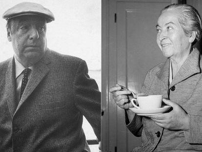Pablo Neruda, en Nueva York en 1966, y Gabriela Mistral, en una imagen sin datar