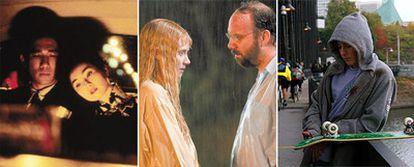 TRES MIRADAS. De izquierda a derecha, fotogramas de <i>Deseando amar,</i>de Wong Kar-Wai; <i>La joven del agua, </i>de M. Night Shyamalan, y <i>Paranoid Park,</i> de Gus Van Sant.