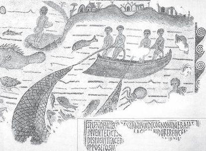 Mosaico del siglo V en Túnez, una de las primeras representaciones de la pesca de arrastre.
