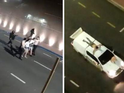 Capturas de vídeo de una cámara de seguridad que muestra a un grupo de rehenes de los asaltantes de Araçatuba, en Brasil, la madrugada del 30 de agosto de 2021.