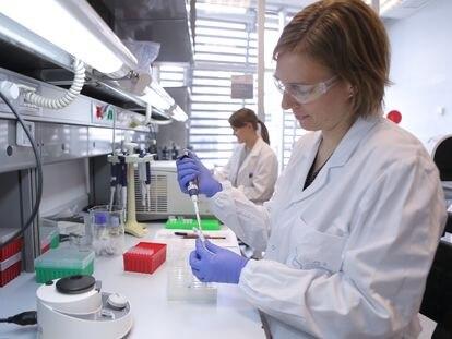 Dos investigadoras trabajan en un laboratorio del Centro de Regulación Genómica de Barcelona.