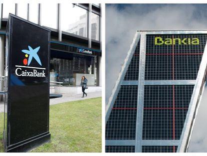 Carteles en las sedes de CaixaBank y Bankia.