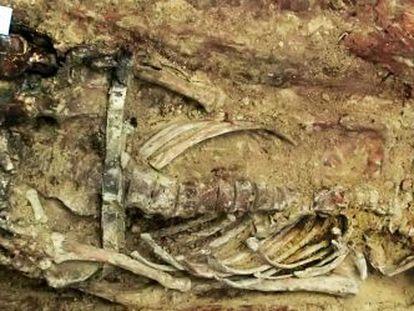 Uno de los esqueletos hallados en la fosa con una botella y un papel con el nombre en el interior facilitada por el grupo Paleolab.