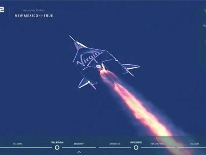 La nave 'Unity' de Virgin Galactic comienza su ascenso este domingo, con el multimillonario Richard Branson a bordo.