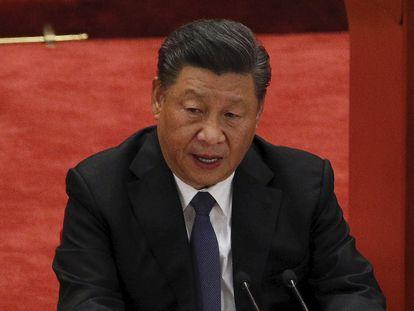 El presidente chino, Xi Jinping, ofrece un discurso durante la ceremonia para conmemorar el 70º aniversario de la entrada del ejército chino en Corea del Norte el 3 de octubre de 2020.
