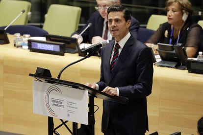 Enrique Peña Nieto, durante un discurso en la cumbre de refugiados de la ONU.